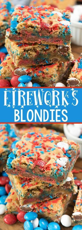 Fireworks Blondies - this EASY blondie recipe is the BEST EVER COOKIE BAR! It's so soft and perfect with any additions, but especially with 4th of July M #holidaysinjuly
