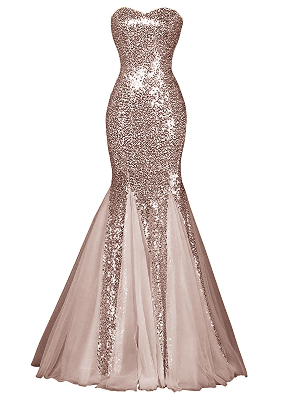 Womens Glamour Sweetheart Sequin Mermaid Long Mermaid Prom Dress in