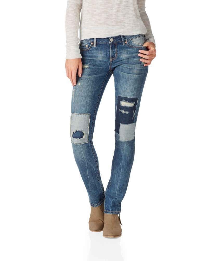 NEW! Bayla Skinny Medium Wash Patchwork Jean -