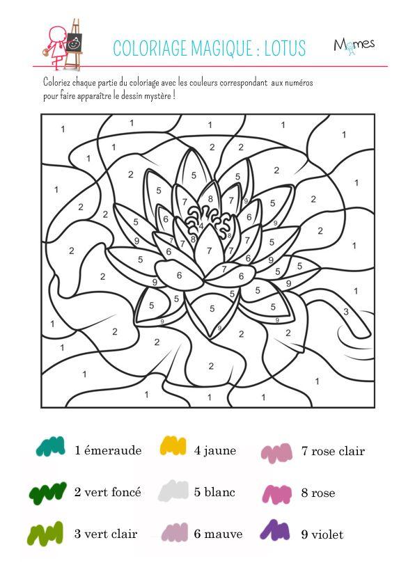 Favori Coloriage magique : le lotus | Coloriage magique, Lotus et Magique QJ77