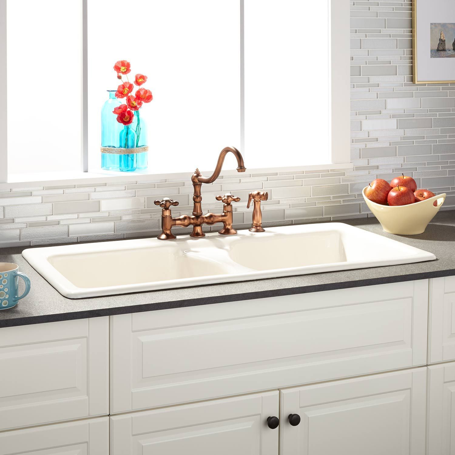 43 Selkirk Double Bowl Cast Iron Drop In Kitchen Sink Biscuit Drop In Kitchen Sink Kitchen Sink Remodel Cast Iron Kitchen Sinks