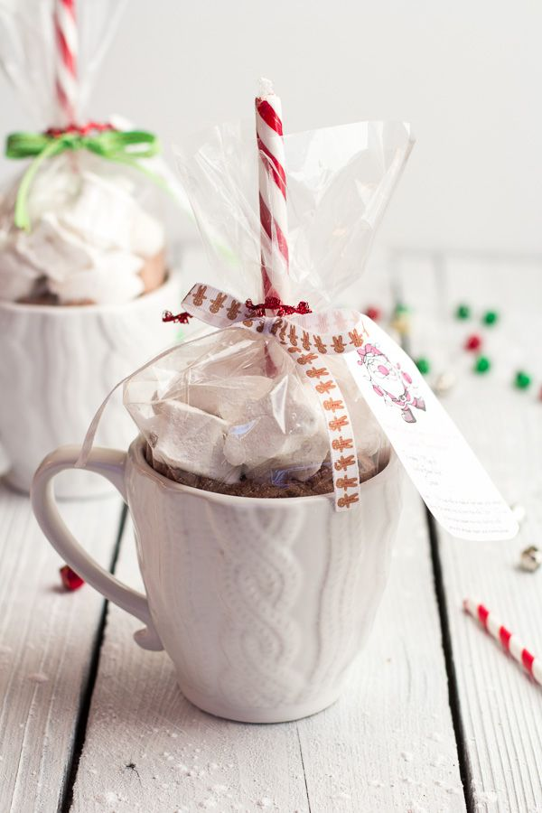 Homemade Holiday Gifts- Easy Double Chocolate Vanilla Bean Hot Cocoa Mugs + Marshmallows - from @Half Baked Harvest
