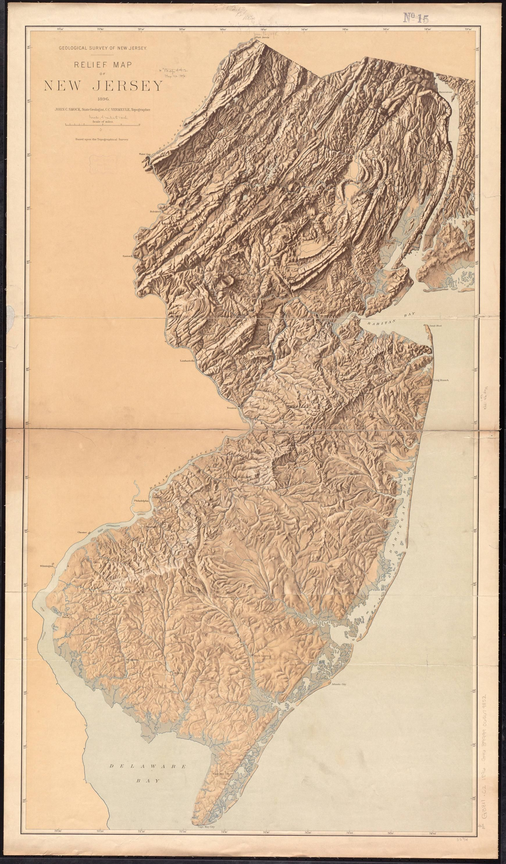 topographic map new jersey Geological Survey Of New Jersey 1896 1740x2966 Relief Map