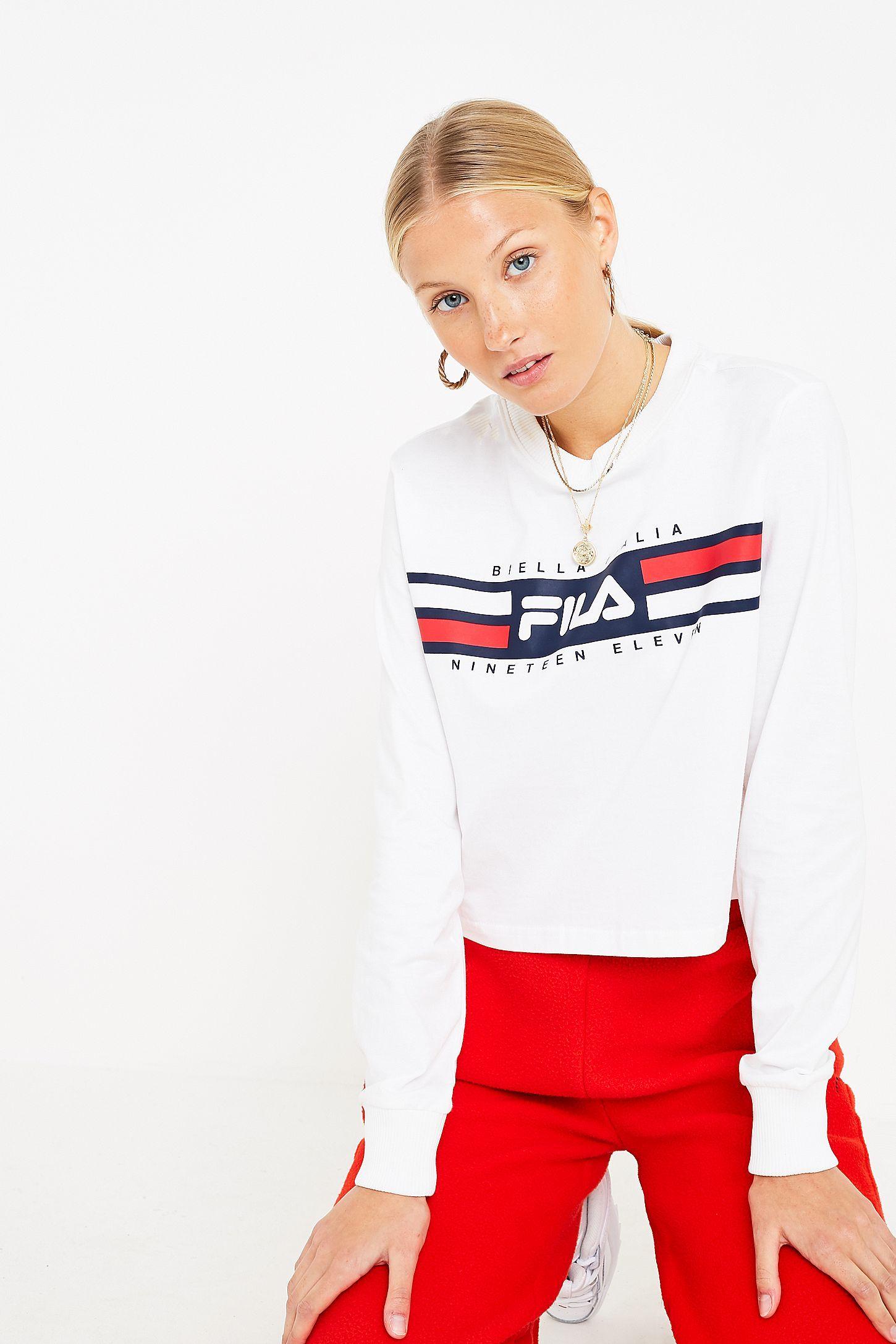 Slide View  5  FILA Latoya Long-Sleeve Crop T-Shirt b21e13b9628