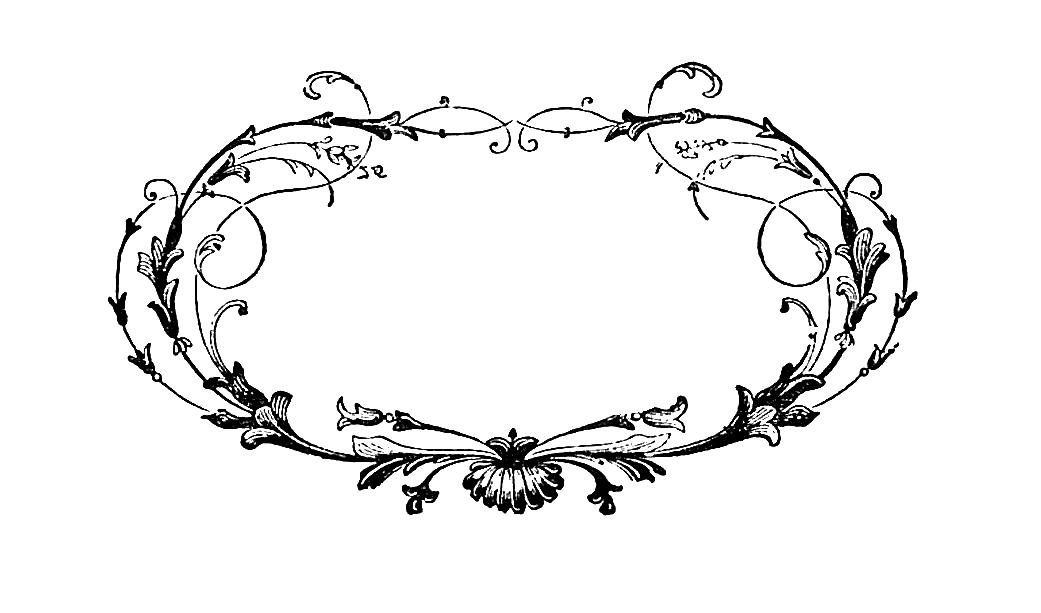 Free Frame Digital Stamp Oval With Scrolls Design