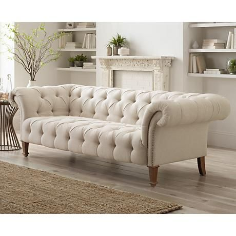 Tessa 90 3 4 Wide Tufted Beige Linen French Sofa 2x200 Lamps