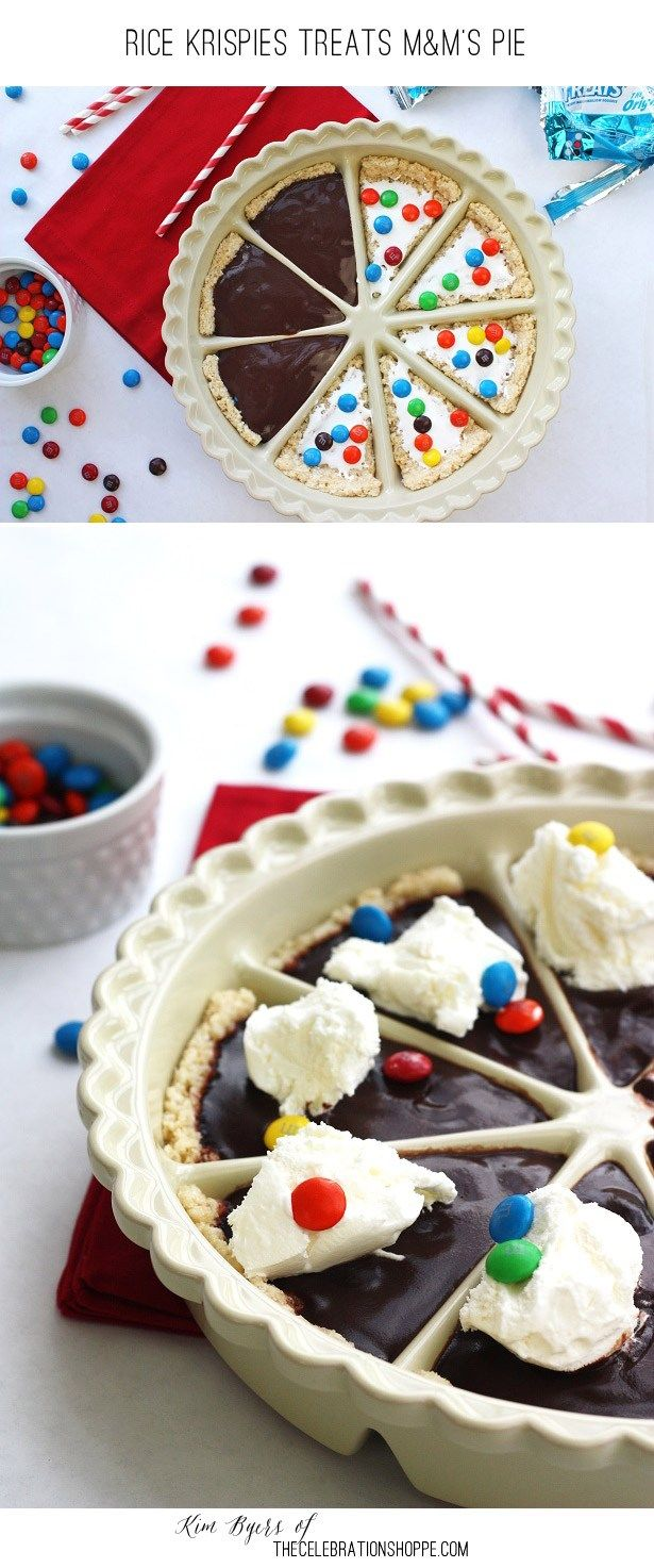 Rice Krispies Treats Crust M&Ms Pie YUM!! Get more Rice