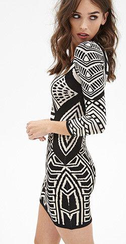 74ea135b787 Geo Pattern Bodycon Dress - Blogs inspired