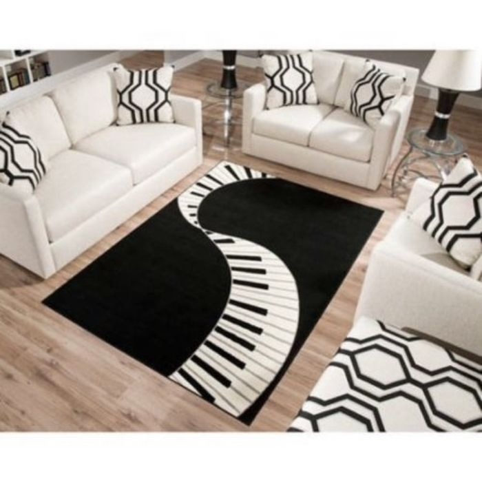 Terra Piano Rectangle Area Rug Black White I Need This For My Future Music Room