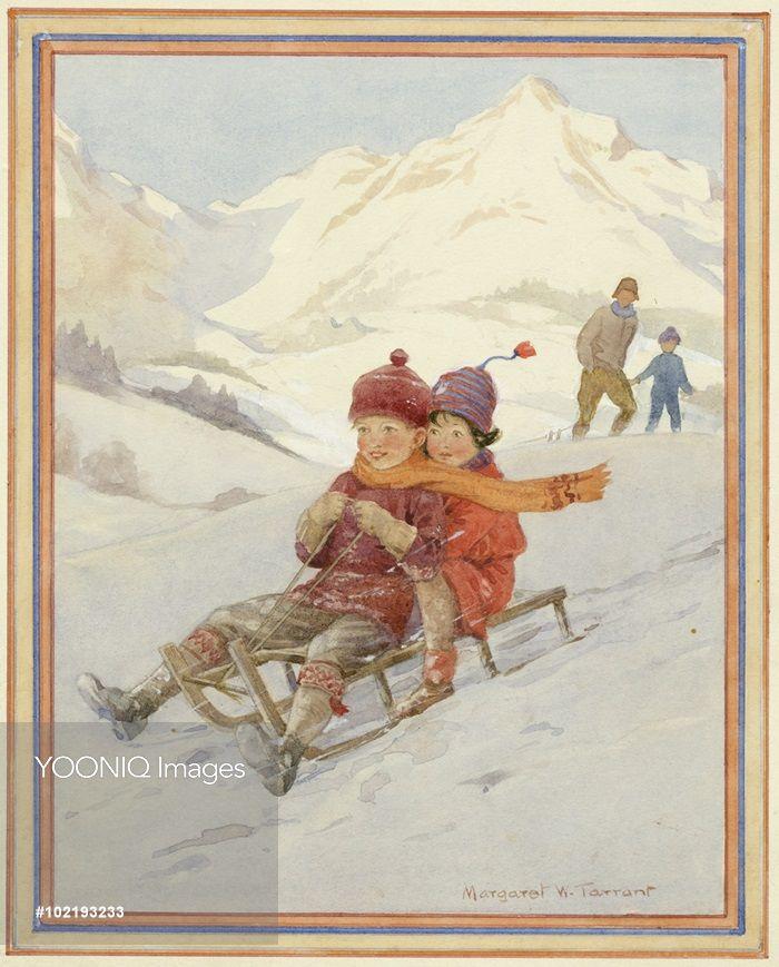 'Down The Slippery Slope' -. Christmas Card.- Margaret