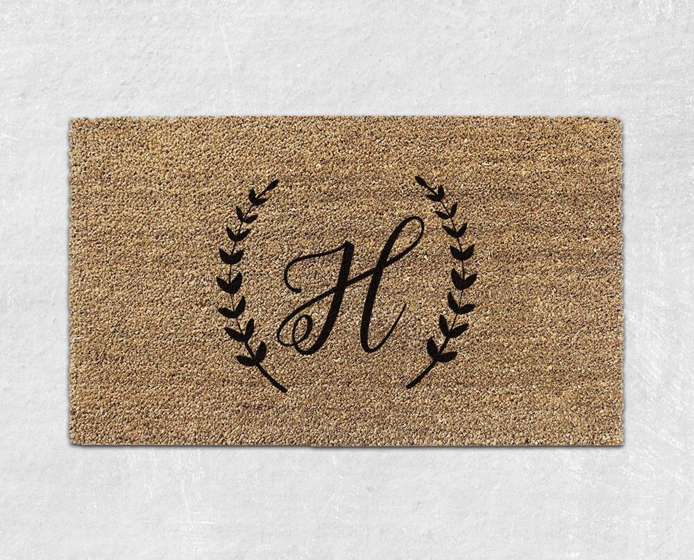 doormat walmart personalized bed with monogrammed insert mat front mats welcome initials and beyond large door bath monogram