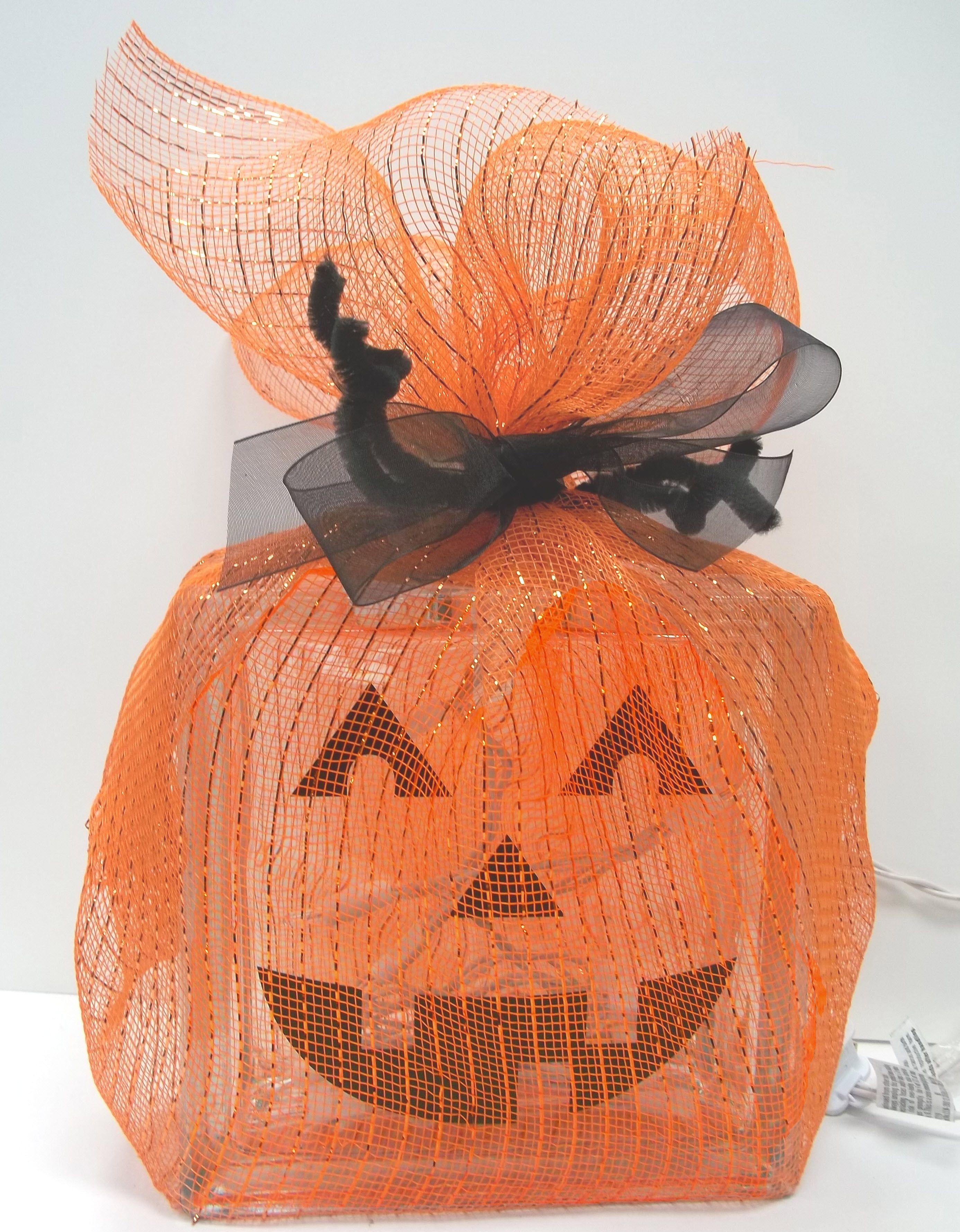 Nicole™ Crafts Pumpkin Glass Block #glassblock #craft #halloween - cute homemade halloween decorations