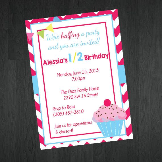 1 2 birthday invitation 6 month birthday by memorableimprints girl