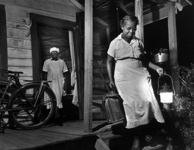 """Maude Callen on duty. In December 1951, LIFE published one of the most extraordinary photo essays ever to appear in the magazine. In W. Eugene Smith's pictures, the story of a tireless South Carolina nurse and midwife named Maude Callen working in the rural South in the 1950s. She served as """"doctor, dietician, psychologist, bail-goer and friend"""" to thousands of poor (most of them desperately poor) patients— only two percent of whom were white."""