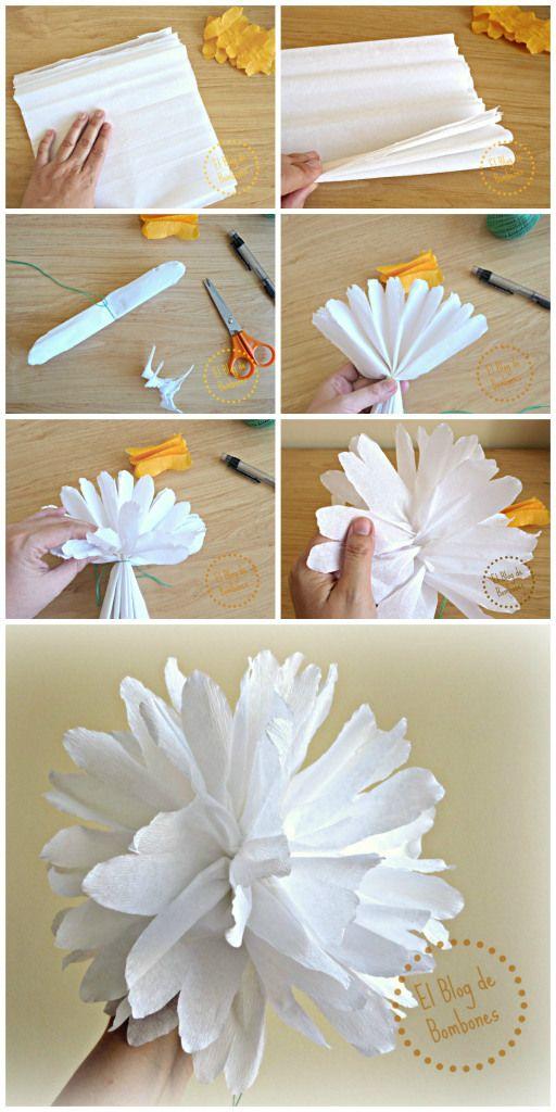 C mo hacer flores de papel crep paso a paso how to make - Como hacer flores de papel ...