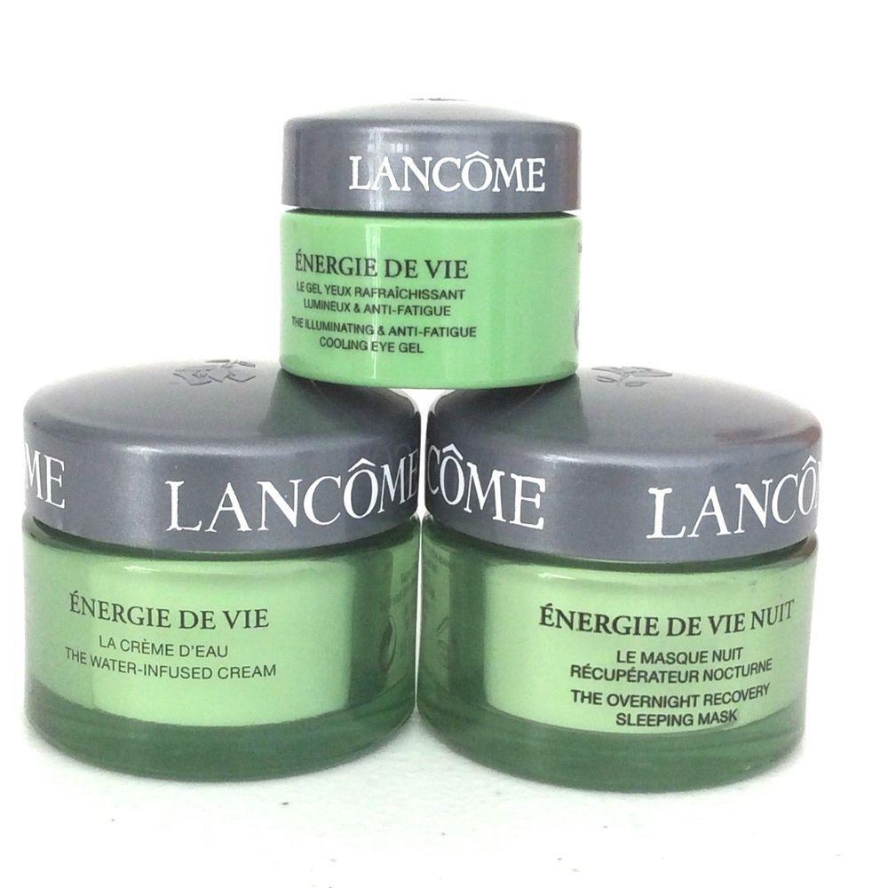 Lancome Energie De Vie Nuit Mask Water Infused Cream Cooling Eye Gel Set Of 3 Lancme Antiaging Eye Gel Lancome Gel