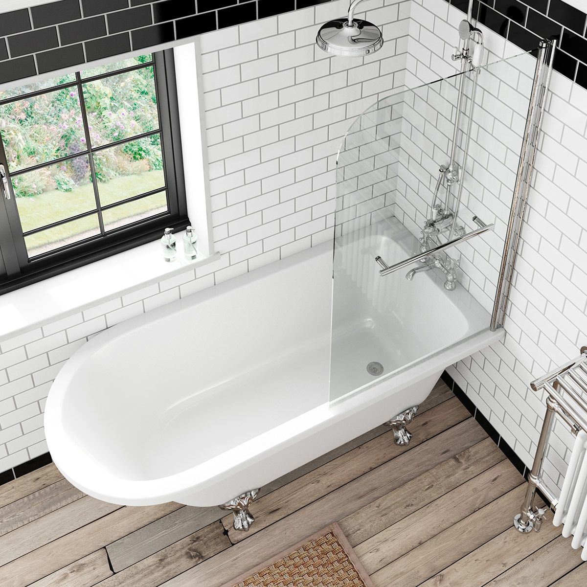 The Bath Co. Dulwich freestanding shower bath and bath screen with ...