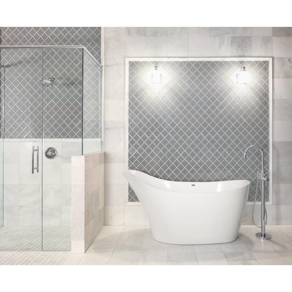 Arabesque Fleur Gray Water Jet Cut Glass Mosaic | Marble floor ...