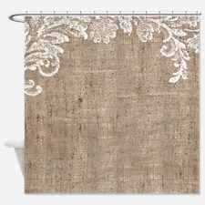 Burlap And Lace Shower Curtain For Farmhouse Shower Curtain