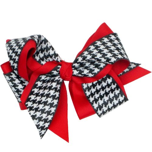 Our Rags Land Houndstooth/Red French Clip Bow! Shop NOW at www.ragsland.com