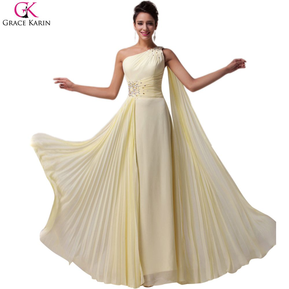 Grace karin yellow cheap bridesmaid dresses one shoulder elegant a