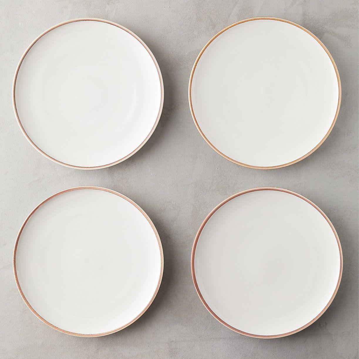 Raw Edge Porcelain Plate Set Handmade Dinnerware Porcelain