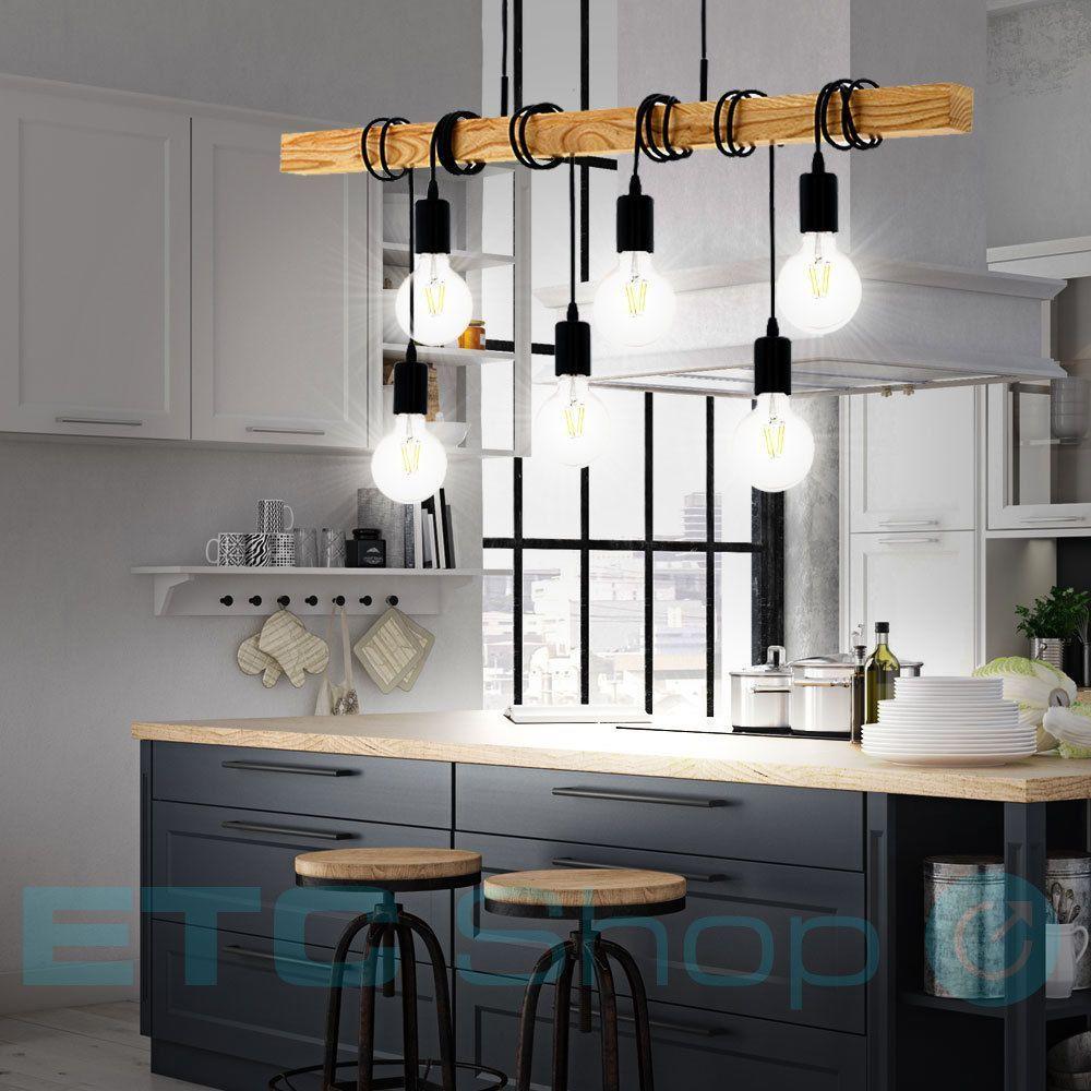 design pendel-lampe küchentisch beleuchtung holzbalken büro
