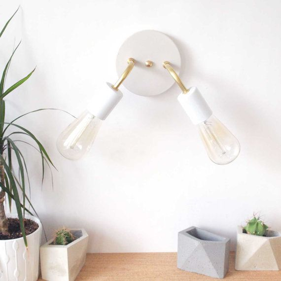 wall sconce brass double arm concrete canopy
