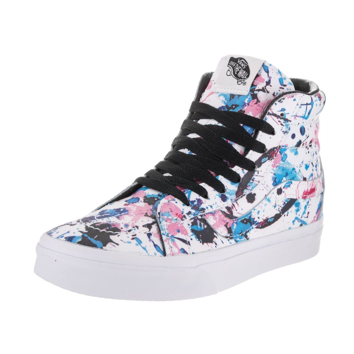 f2f2a08e30d Create retro appeal while at the park with these Vans Sk8-Hi reissue skate  shoes designed for unisex wear. A unique paint-splatter motif brings a bit  of ...