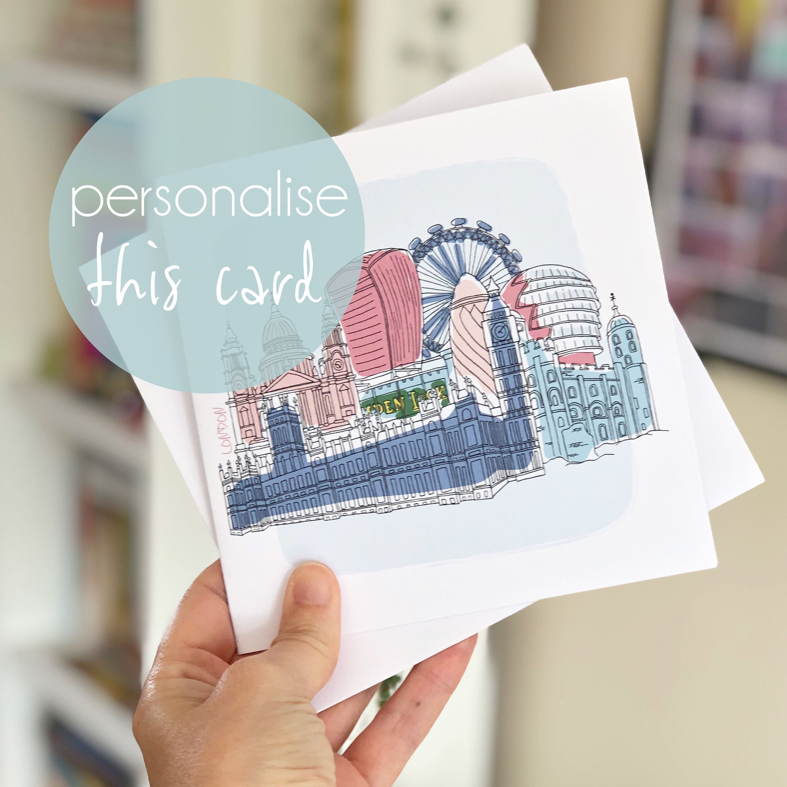 London Personalised Greeting Card Birthday Card Anniversary Etsy Birthday Cards Square Greeting Card Birthday Greeting Cards