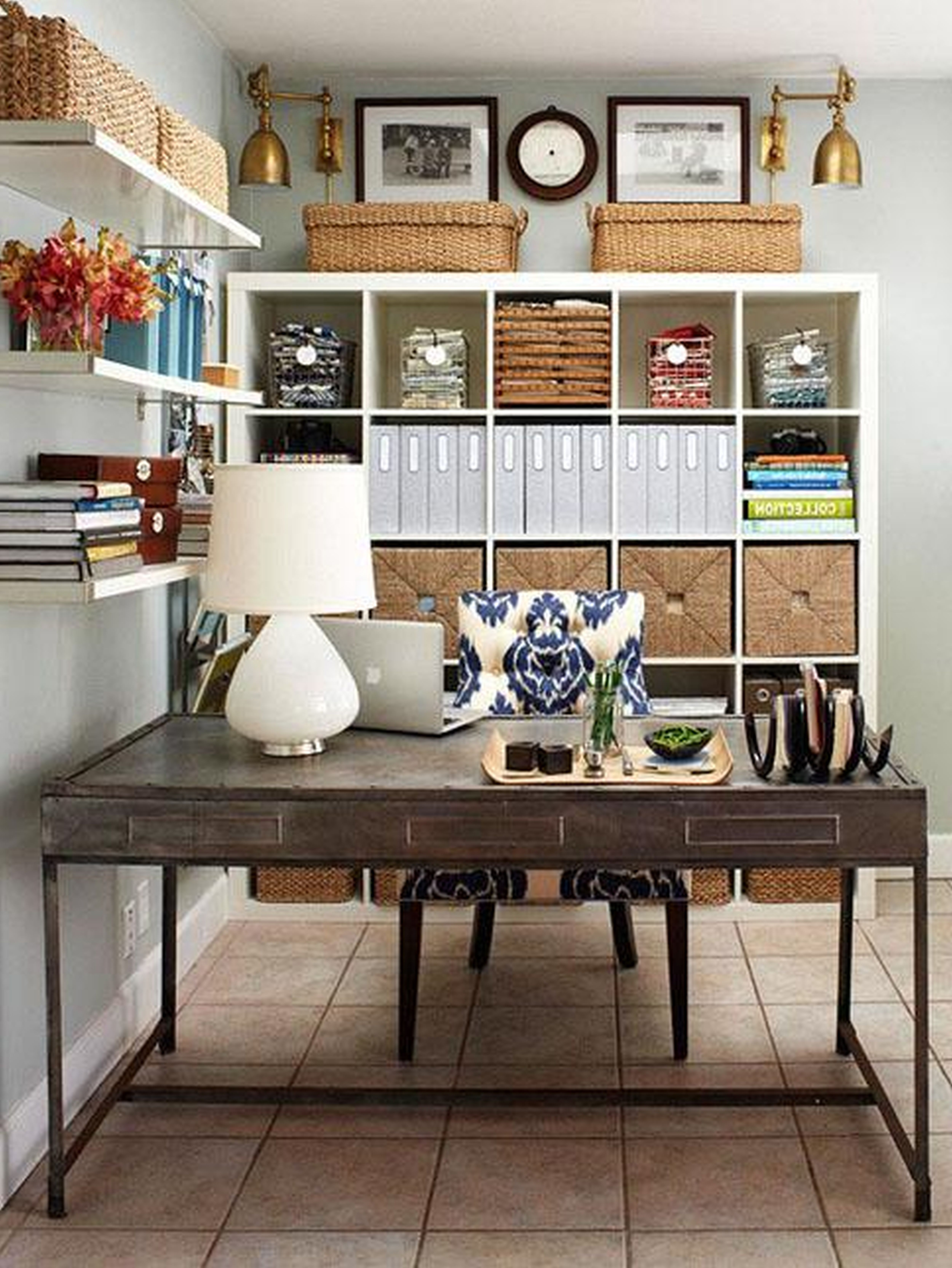 How To Design A Workspace At Home: Interior, Stylish Rectangular Reclaimed Wood Work Table With Fascinating White Lacquer Rack And