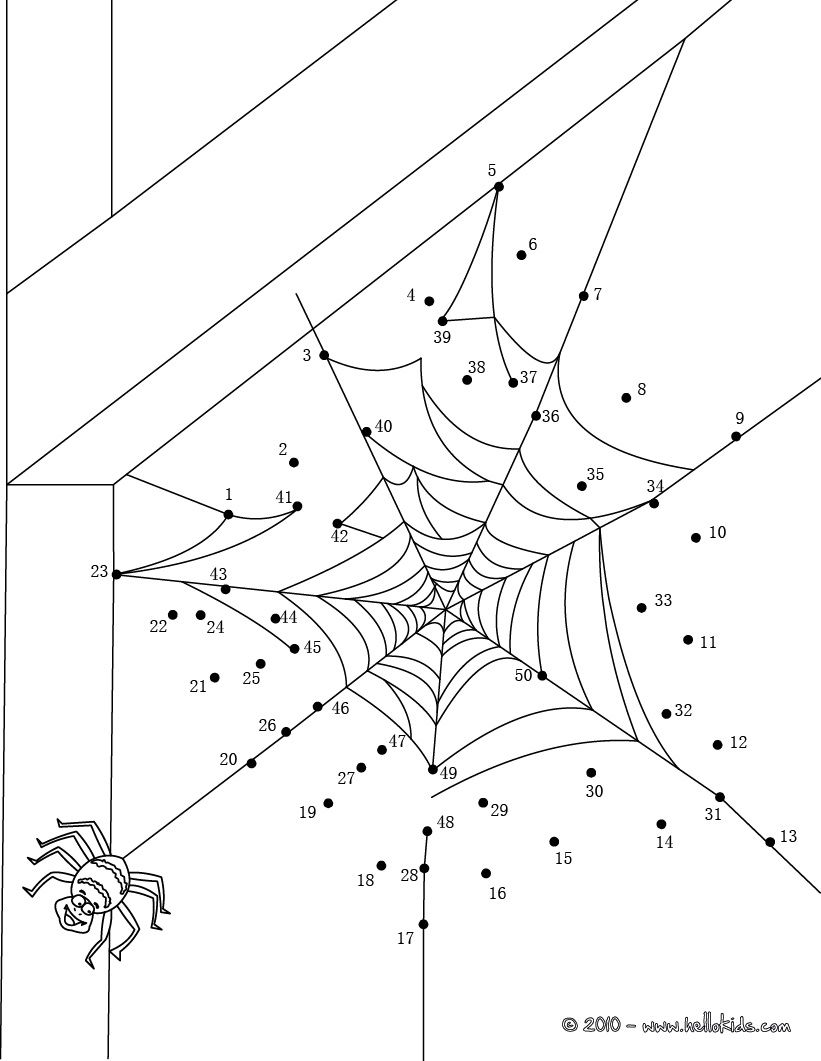 HALLOWEEN dot to dot - SPIDER WEB dot to dot game | halloween ...