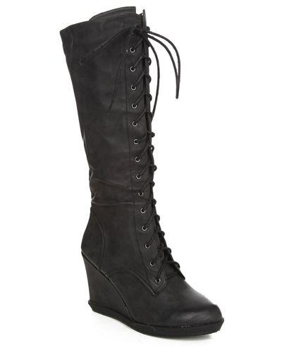 124a222f69f Black Lace Up Platform Combat Boots  Vintage Victorian Goth