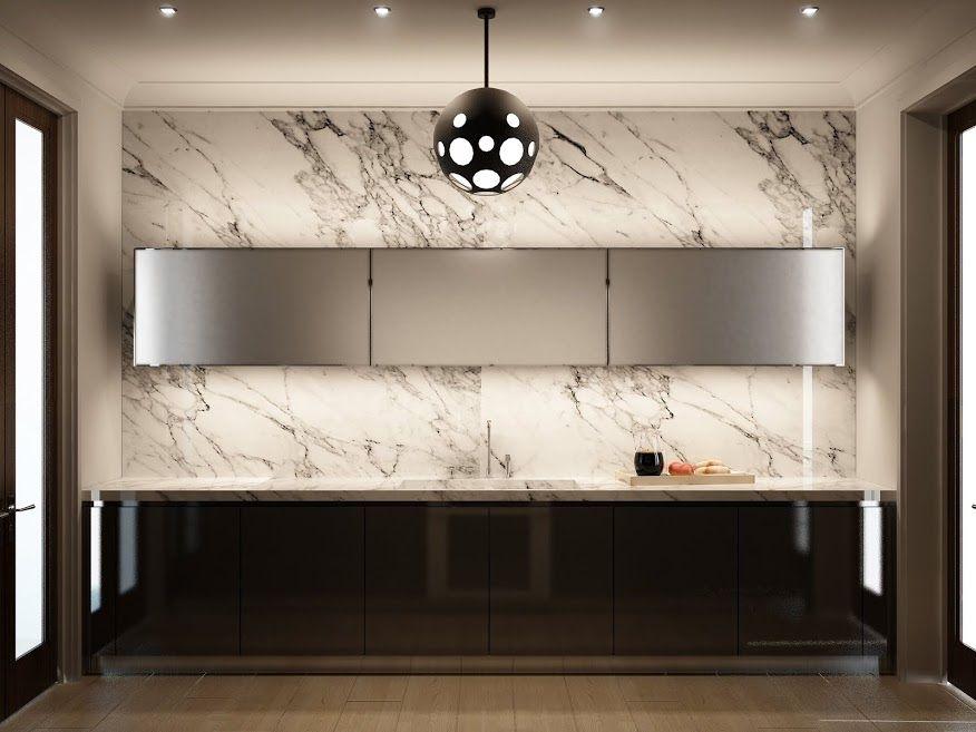 Beautiful luxury kitchen with marble backsplash kitchen for Kitchen black wall