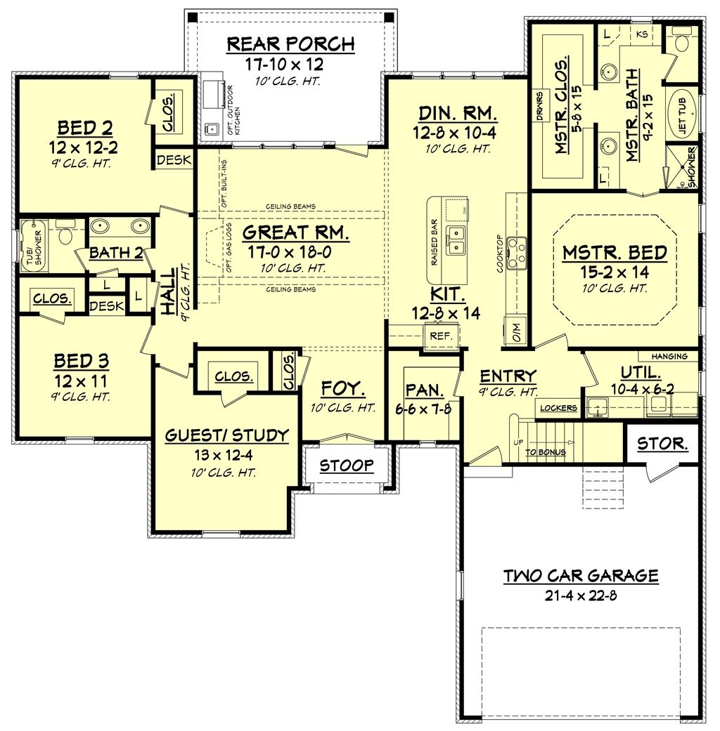 European Style House Plan 4 Beds 2 Baths 2180 Sq Ft Plan