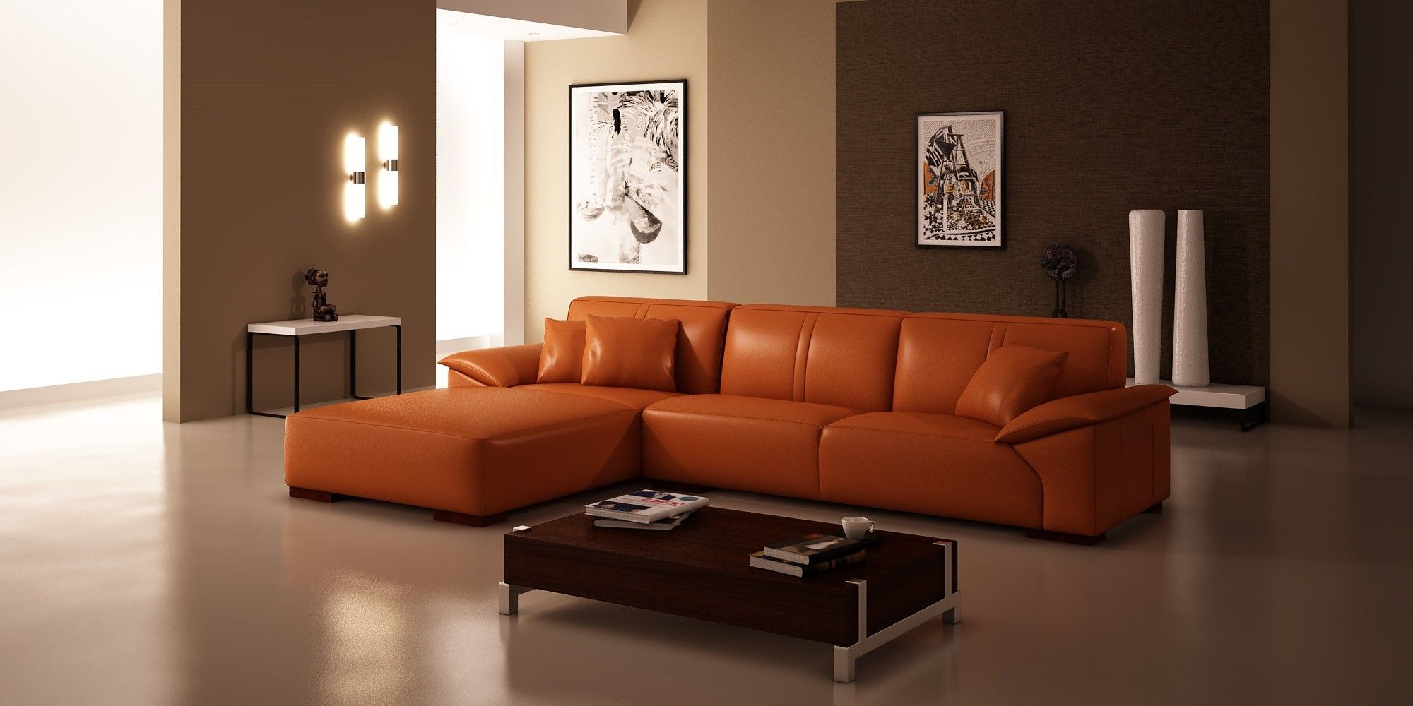 Burnt Orange And Brown Living Room Adorable Glorious L Shaped Sectional Orange Sofa With Left Hand Chaise Design Ideas