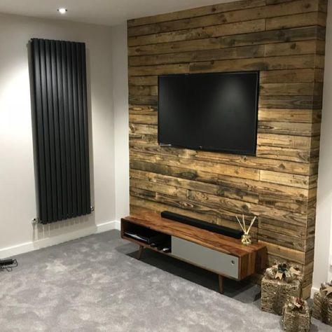Pallet wood feature tv wall   Painel tv, Sala estar, Decoração