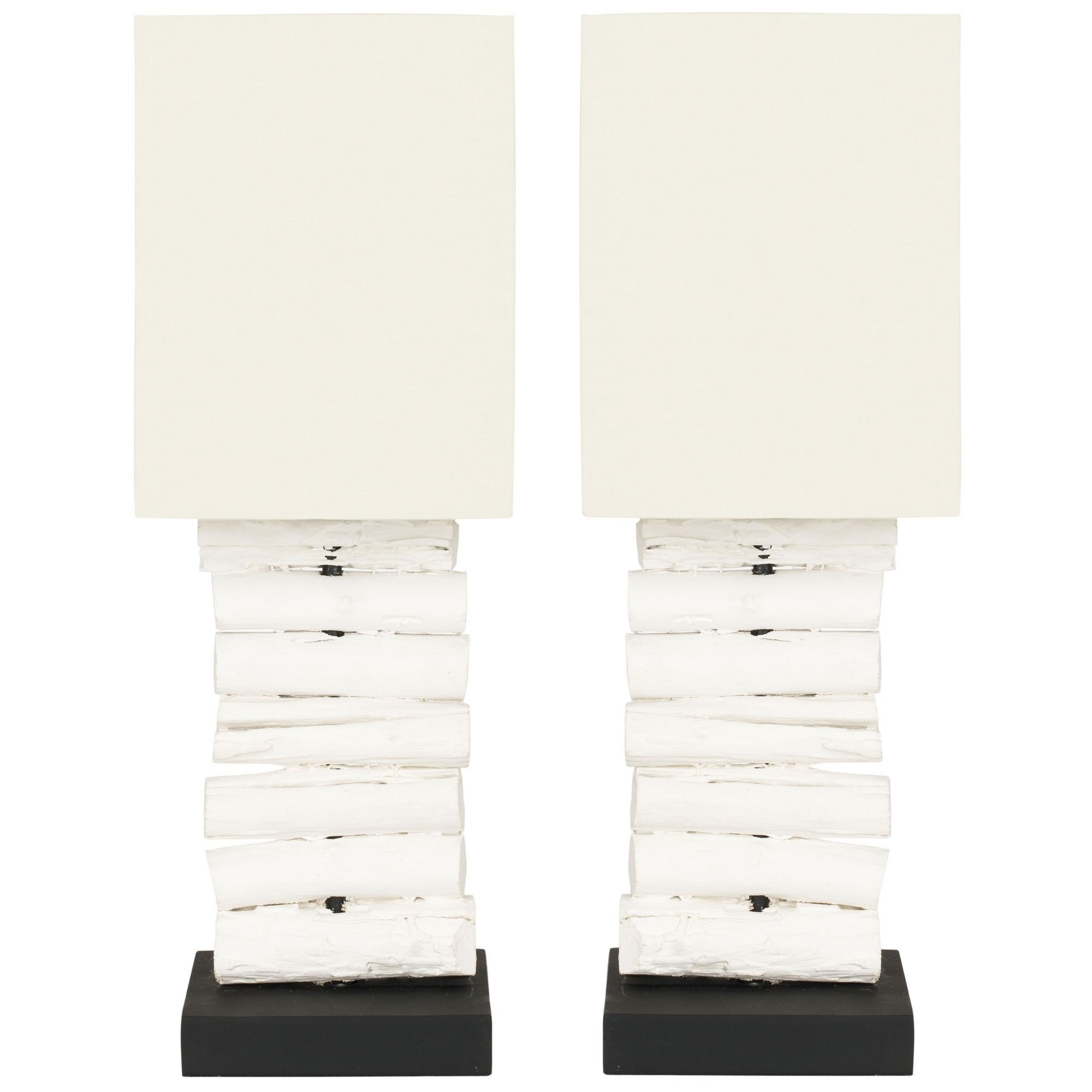 Natural found wood is a building block of rustic chic style and safavieh woodland white washed wood table lamps set of overstock shopping big discounts on safavieh lamp sets geotapseo Gallery