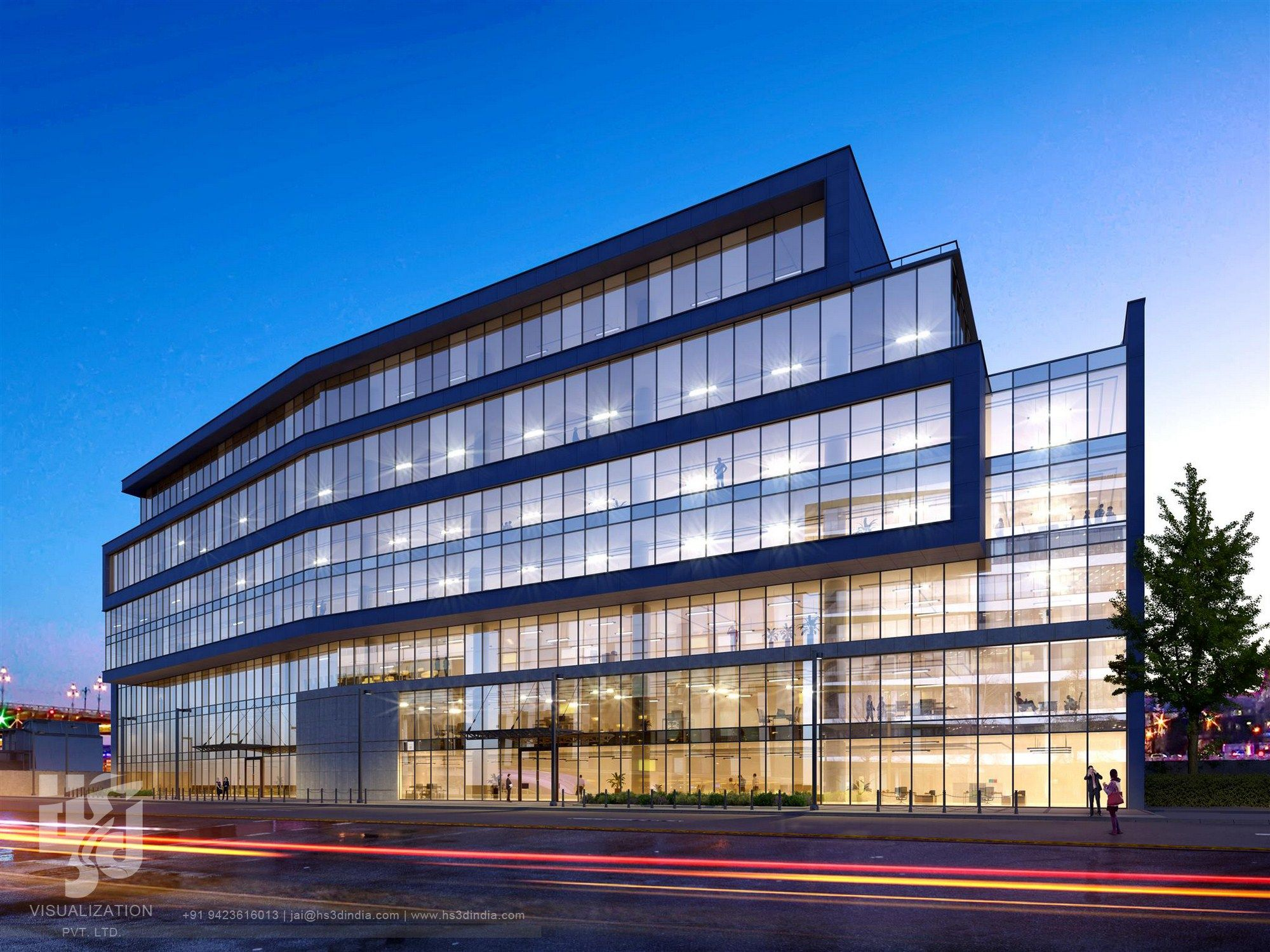3D Corporate Office Exterior Night Rendering And Elevation
