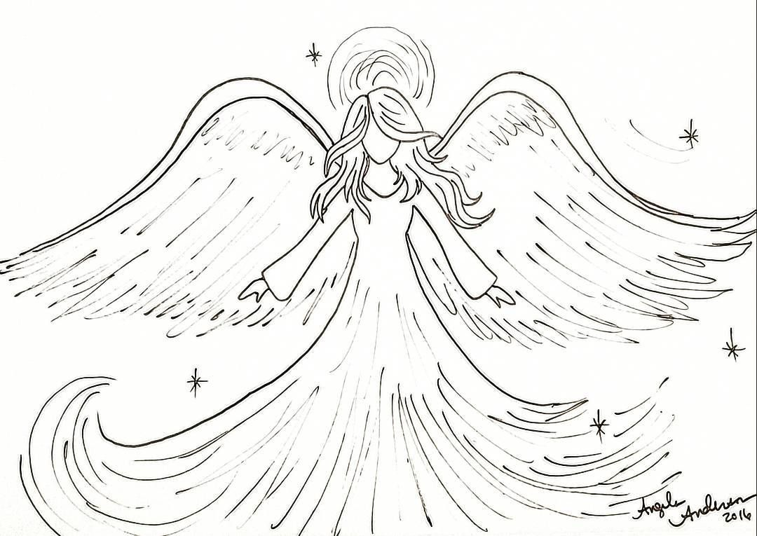 Free Christmas Printable Coloring Sheet Angel Traceable #