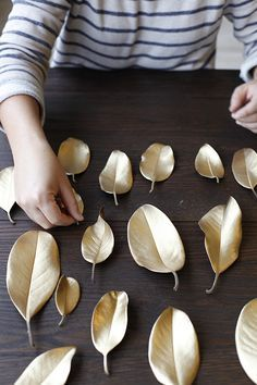 DIY: Gold Holiday Laurel Leaf | Gold diy, Diy wedding ...