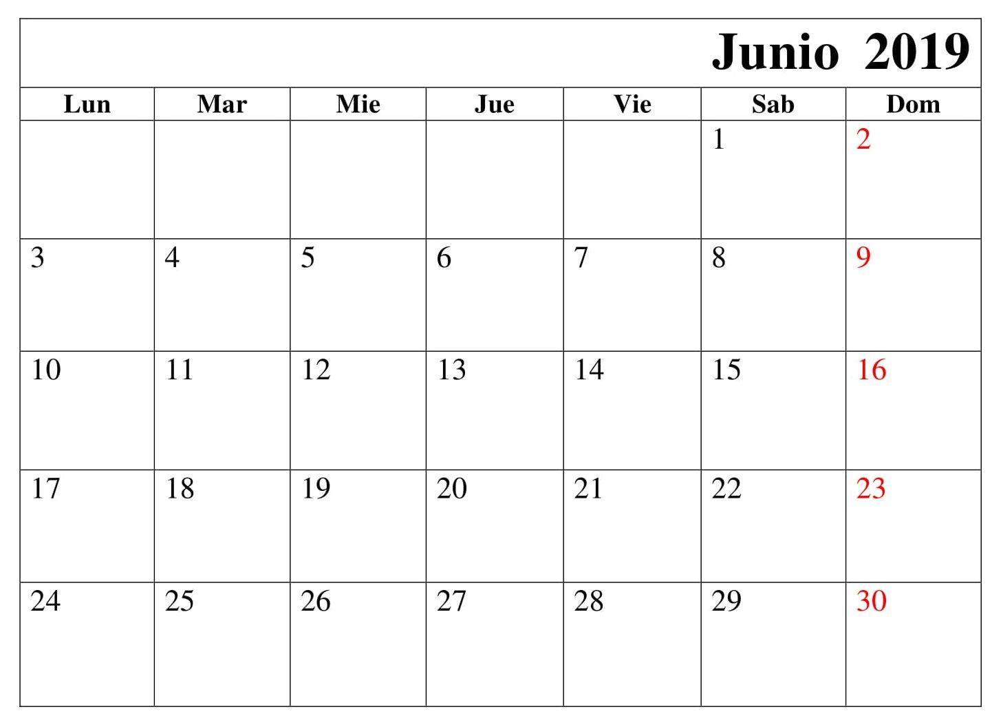 Calendario Junio 2019 Para Imprimir Pdf.Calendario Junio Grande Para Imprimir 2019 June 2019 Calendar