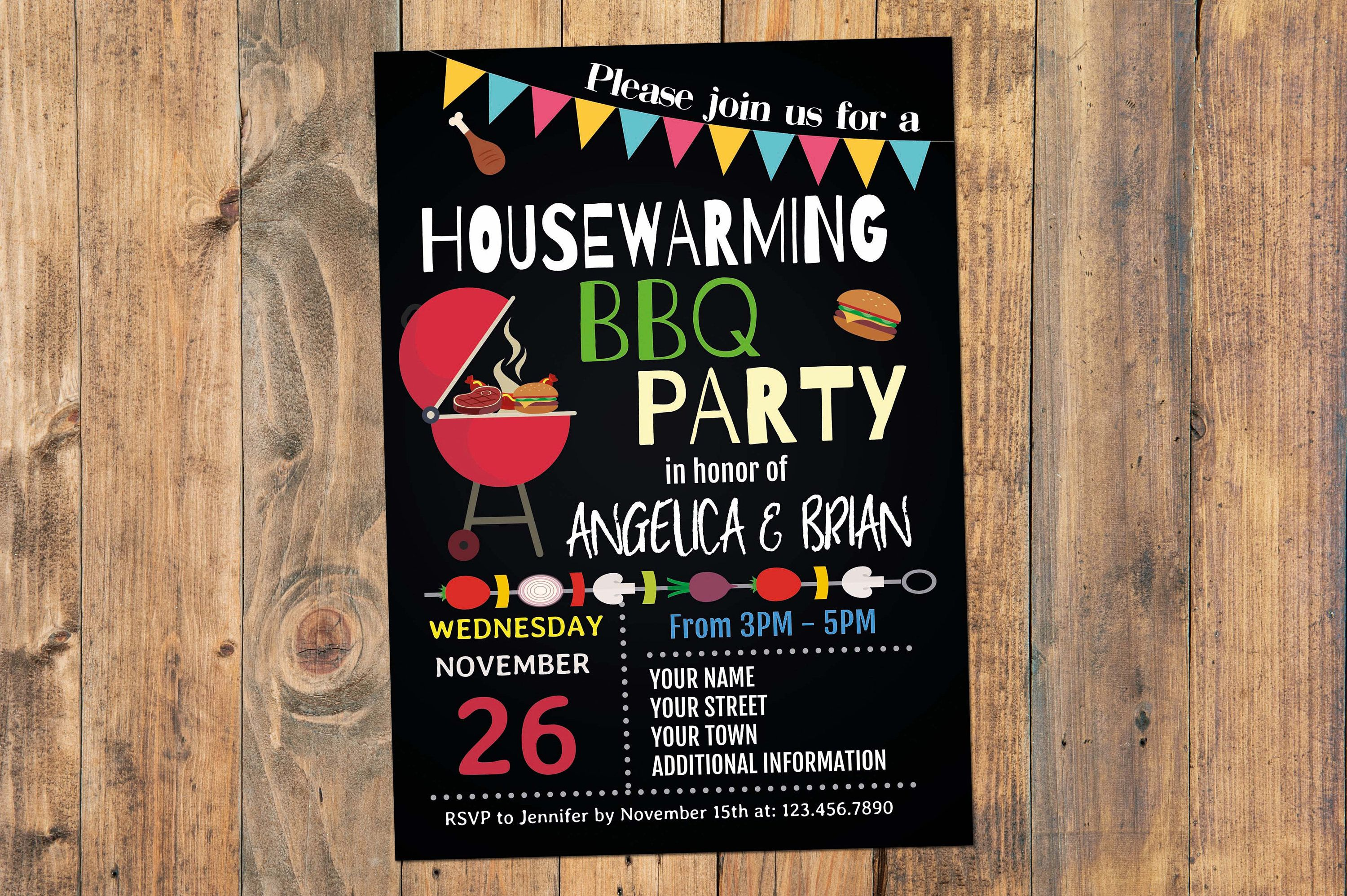 Housewarming Bbq Party Invitation Housewarming Invitation