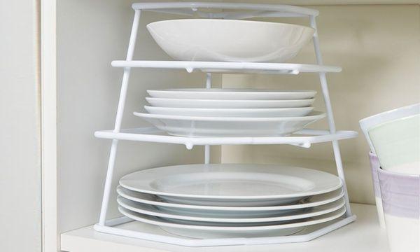 four tier corner plate kitchen storage racks in 2020 plate storage kitchen storage rack tableware design pinterest