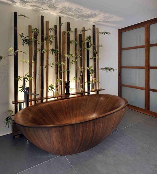 bathroom with modern interior and wooden bathtub