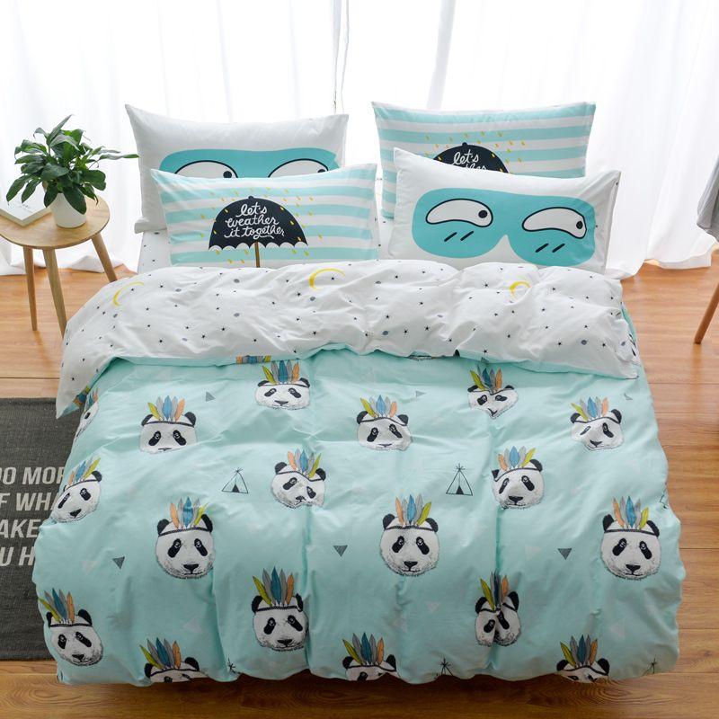 China Bedding Set Suppliers Cotton Owl Panda Fox Cat Cartoon Modern Flower Queen Size Stripe Bed Duvet Cover Sheet Linen Pillow