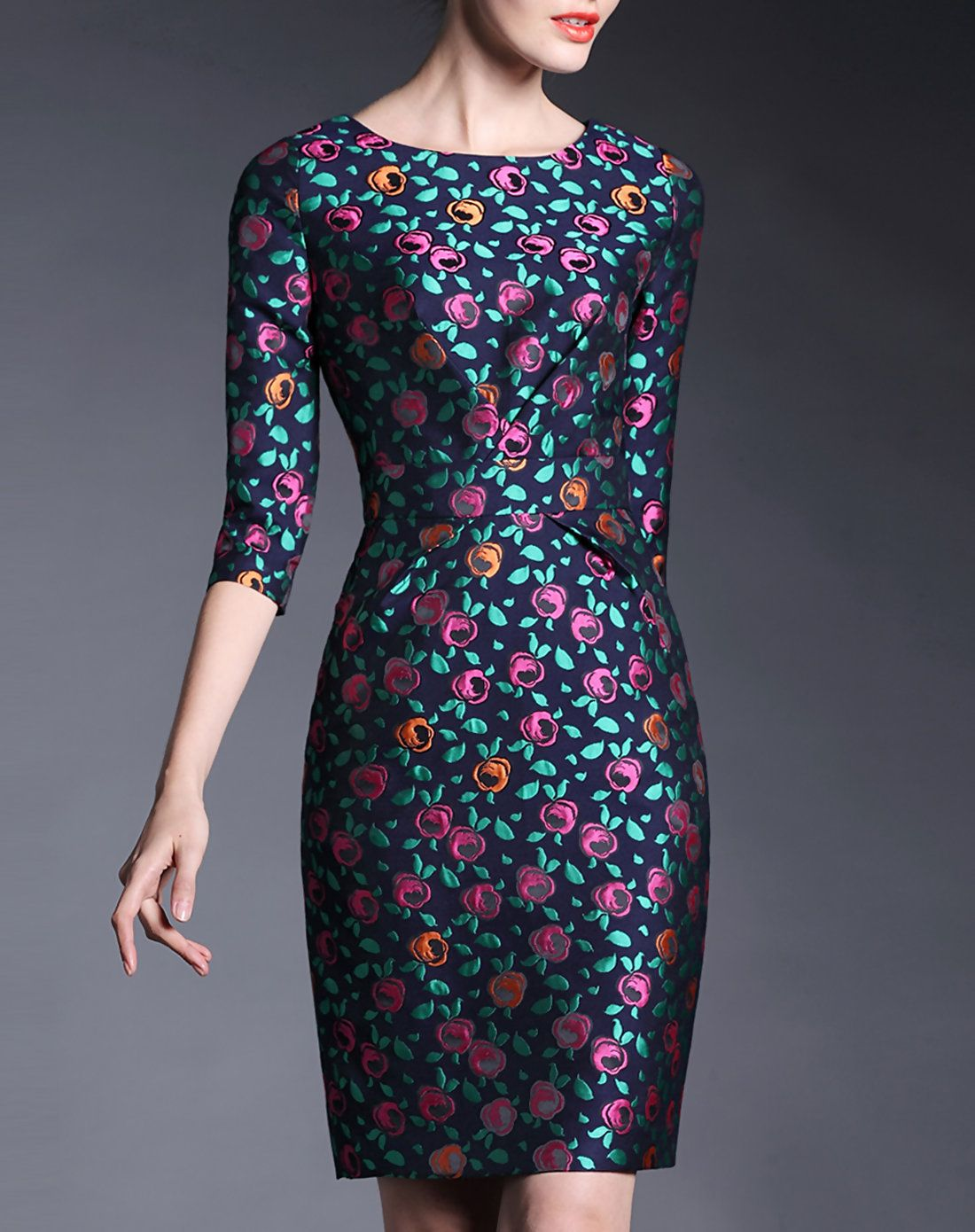 5a452c9cc739d Black Jacquard Half Sleeve Sheath Midi Dress