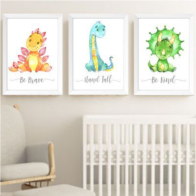 Details about Dinosaur Nursery Prints Set, Baby Kids Room Dinosaurs Pictures Wall Art Decor | Dinosa