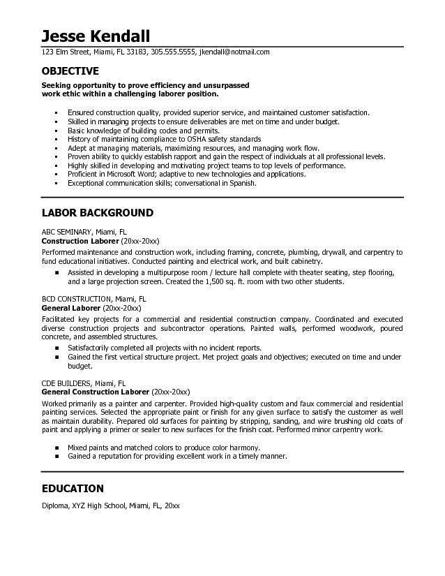 generic resume objective samples