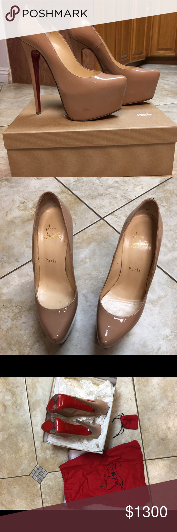 Christian Louboutin nude Nude Daffodile 160. Patent soft. Worn Only worn 3 times. They're still new with box and bag. Size 38.5 (for those who wear a size 8US) willing to Negotiate NO TRADE! Christian Louboutin Shoes Platforms
